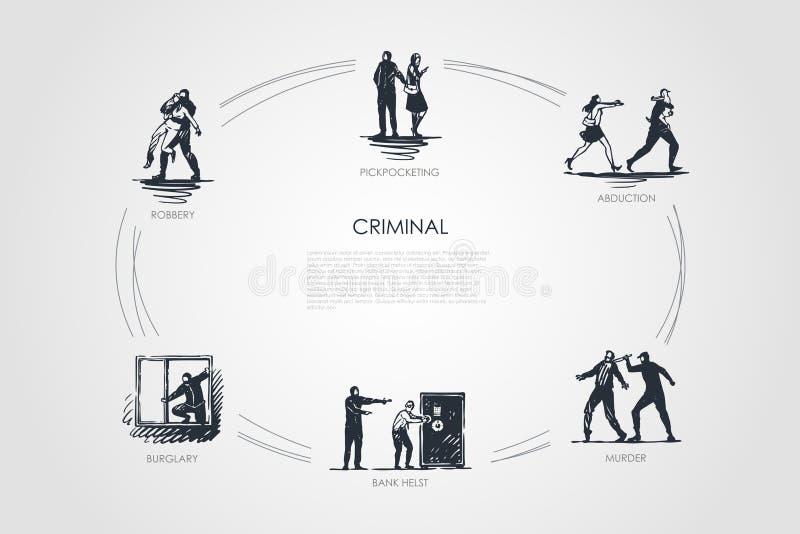 Misdadig - het zakkenrollen, abductie, moord, bank helst, inbraak, reeks van het diefstal de vectorconcept vector illustratie
