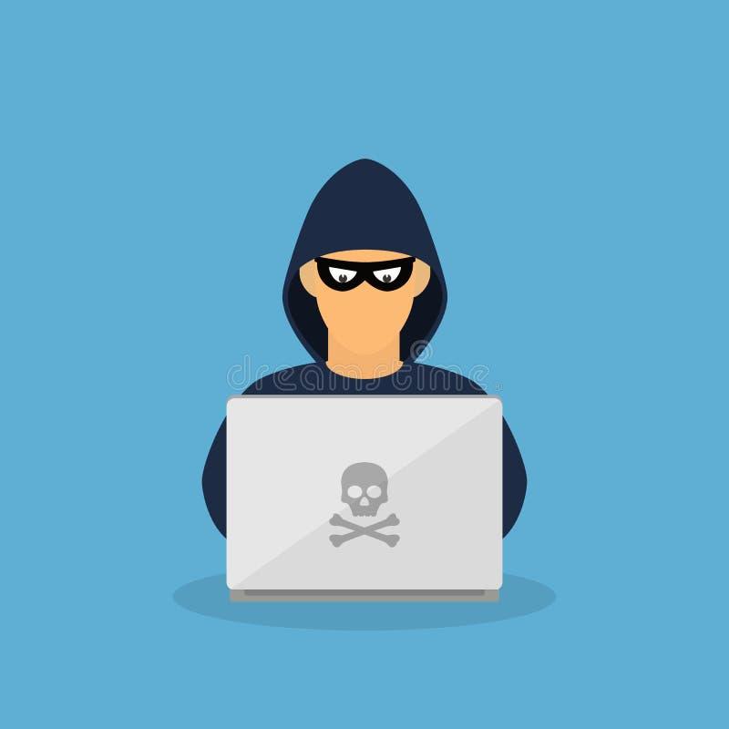 Misdadige hakker met laptop stock illustratie