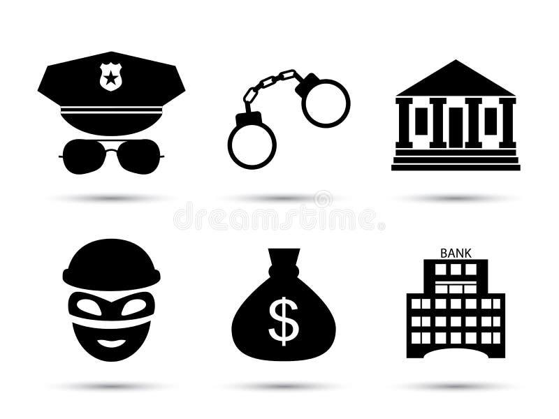 Misdadiger en gevangenis vector geplaatste pictogrammen royalty-vrije illustratie