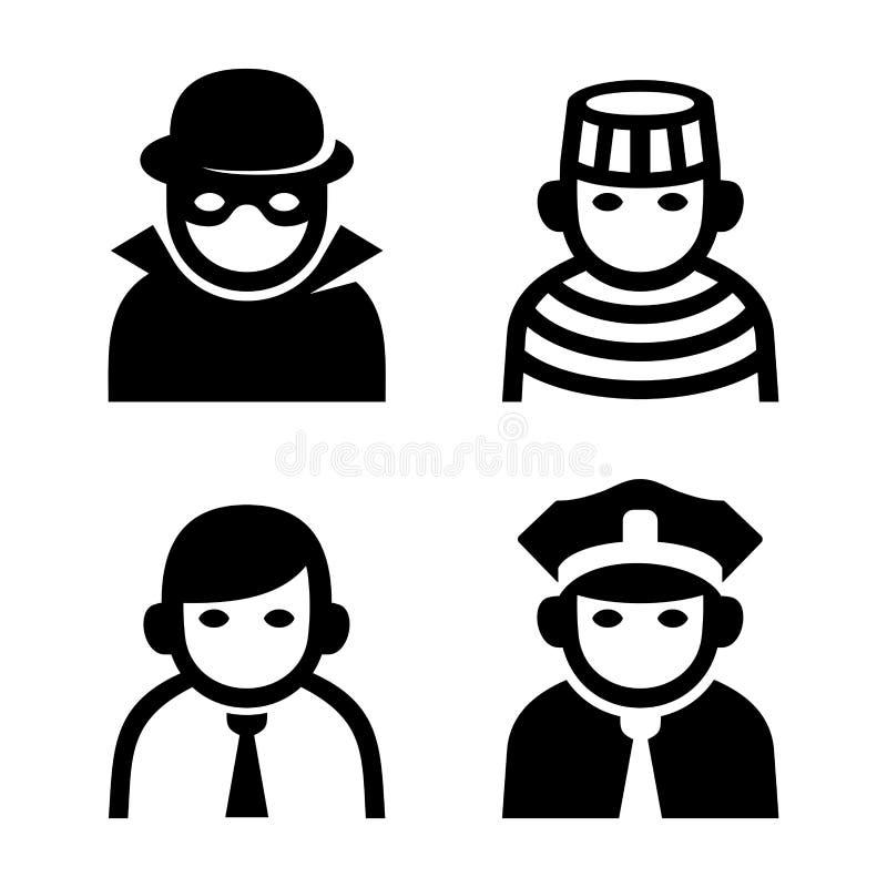 Misdadiger, Politie en Gevangenis Geplaatste de Pictogrammen van Userpic vector illustratie