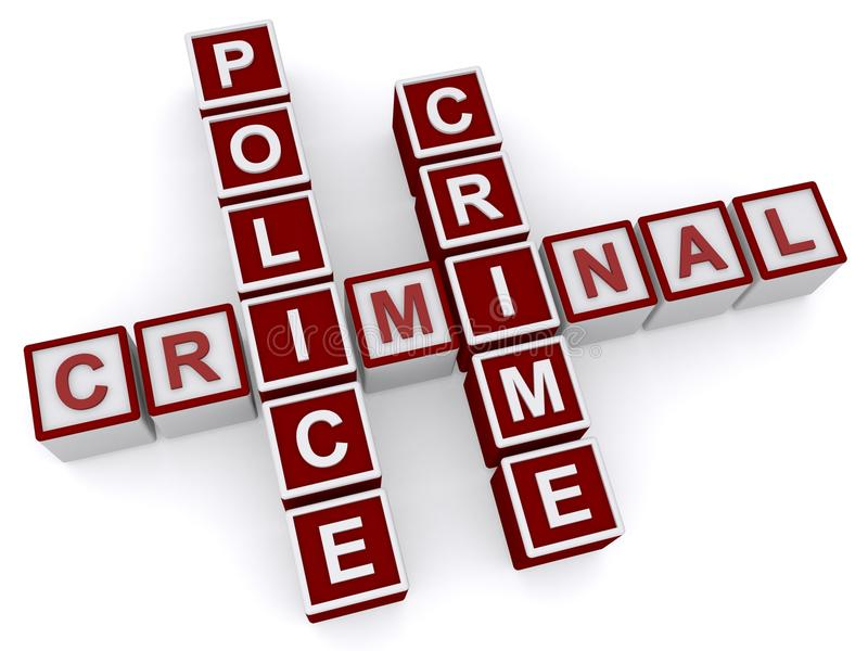 Misdadiger, politie, misdaad stock foto's