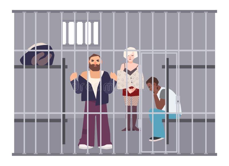 Misdadigers in cel bij politiebureau of gevangenis De gevangenen sloten omhoog in ruimte met metaalnet Overtreders of gearresteer vector illustratie