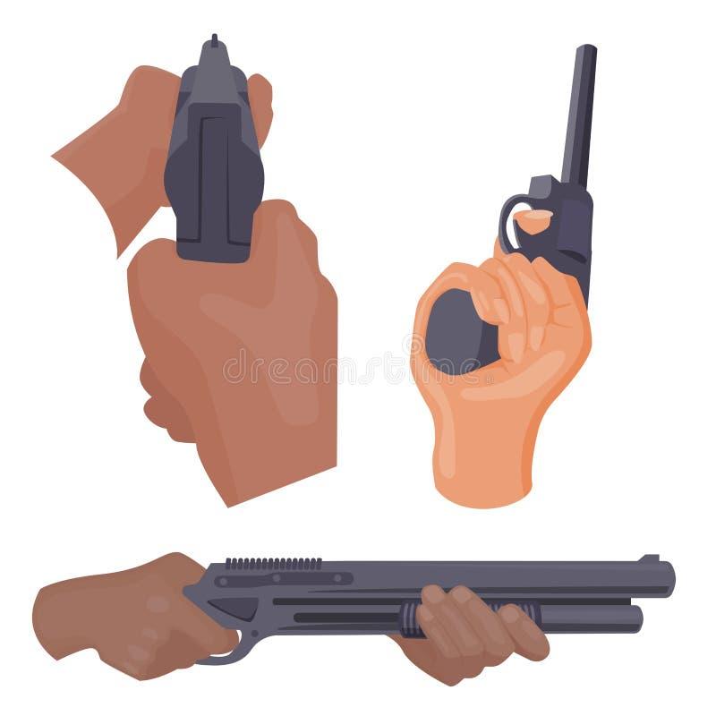 Mise à feu de main avec des munitions de protection d'arme à feu illustration de vecteur