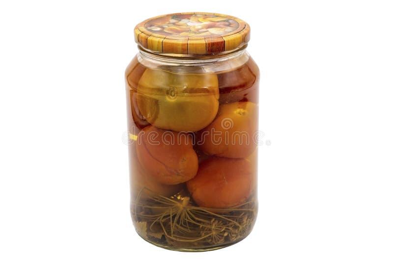 Mise en boîte à la maison Une boîte de tomates marinées photographie stock libre de droits