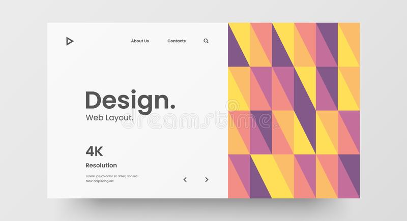 Mise en page du projet de conception Web horizontale sensible Bannière de motif géométrique abstraite maquette Modèle vectoriel d illustration de vecteur