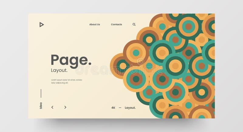 Mise en page du projet de conception Web horizontale sensible Bannière de motif géométrique abstraite maquette Modèle vectoriel d illustration stock
