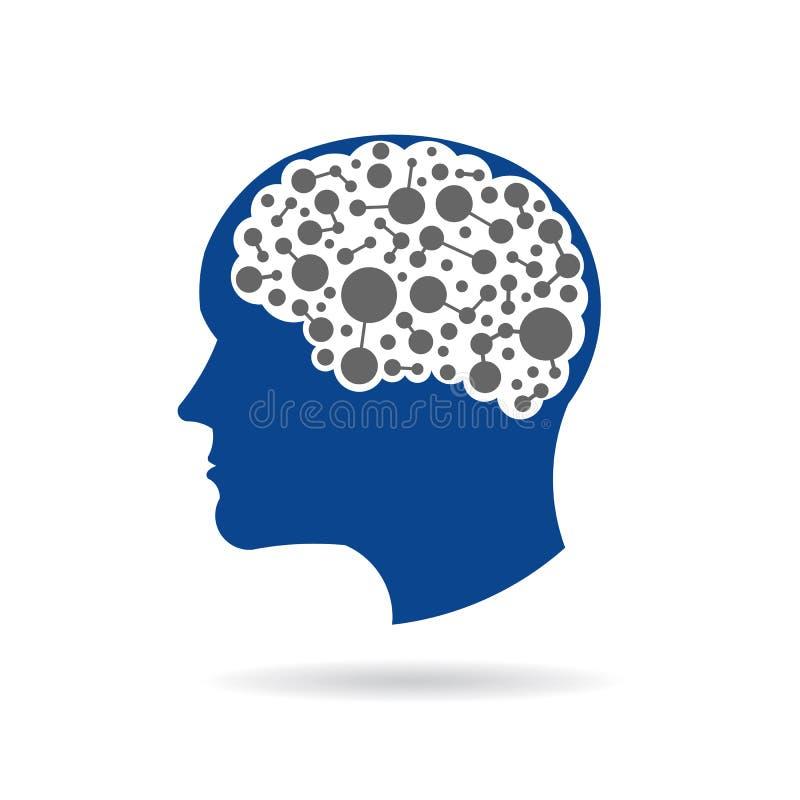 Mise en réseau, cercles et lignes de cerveau à l'intérieur illustration de vecteur