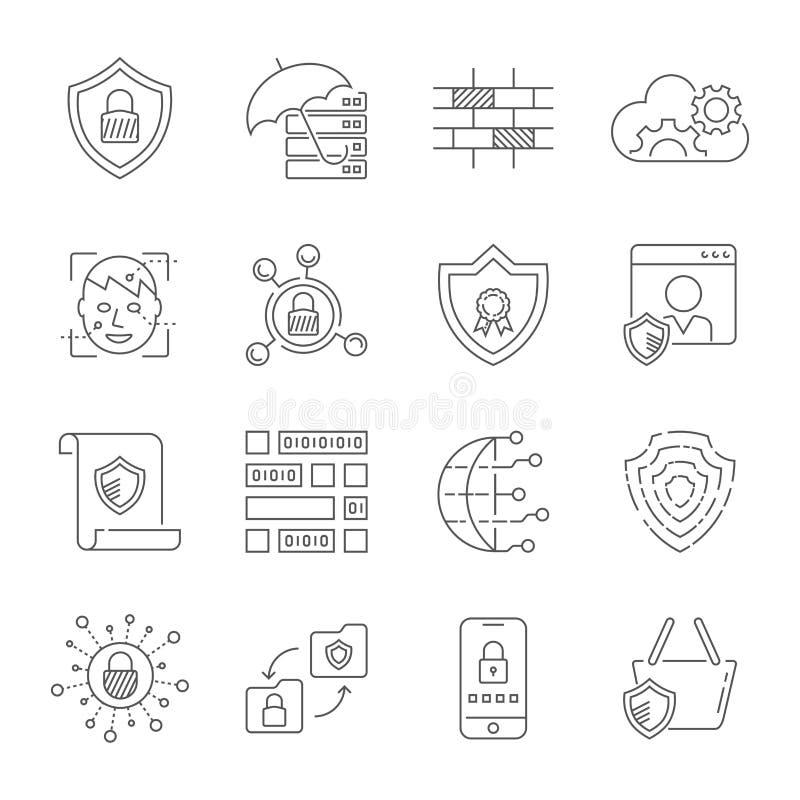 Mise en réseau d'ordinateur, technologie d'Internet, protection numérique, Web, données, télécommunication mondiale Course Editab illustration de vecteur