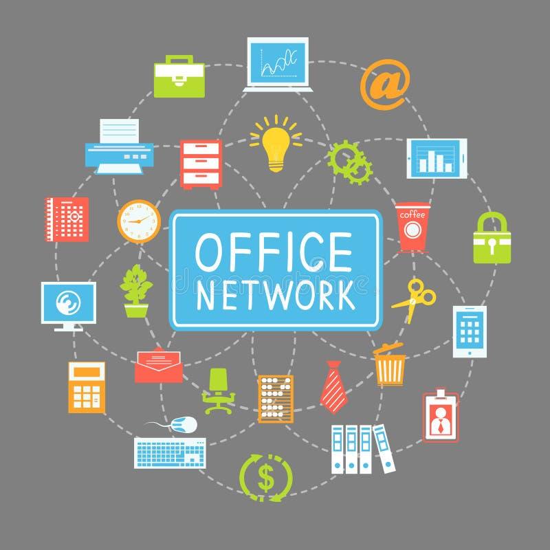 Mise en réseau et communication de local commercial illustration de vecteur