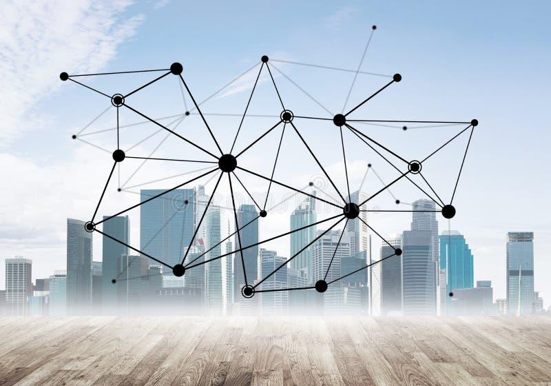 Mise en réseau et communication sociale en tant que moyens pour la stratégie commerciale efficace photo libre de droits