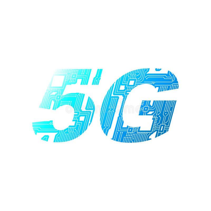 mise en réseau 5G mobile de carte sur le fond blanc illustration de vecteur