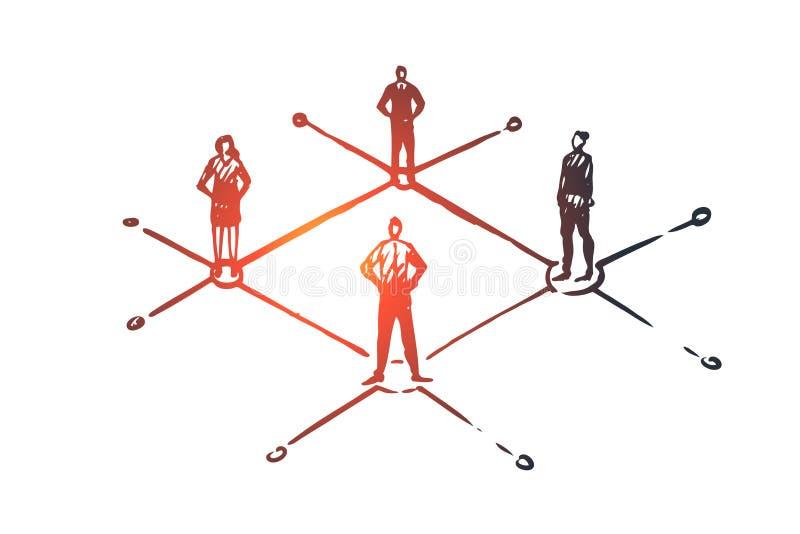 Mise en réseau, les gens, connexion, Internet, concept social Vecteur d'isolement tiré par la main illustration stock