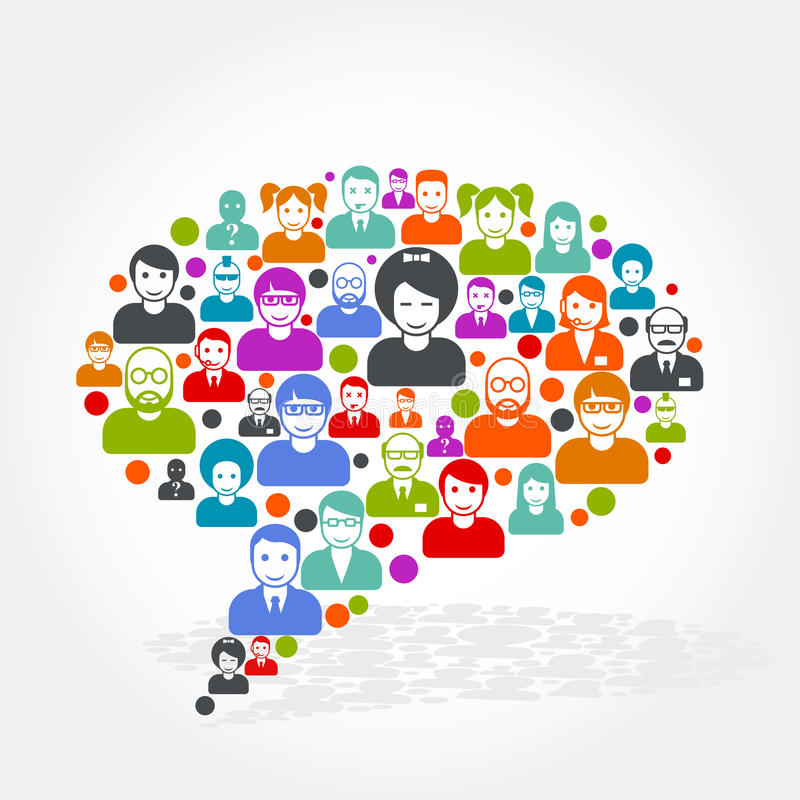 Mise en réseau sociale - bulle de la parole faite de personnes illustration de vecteur