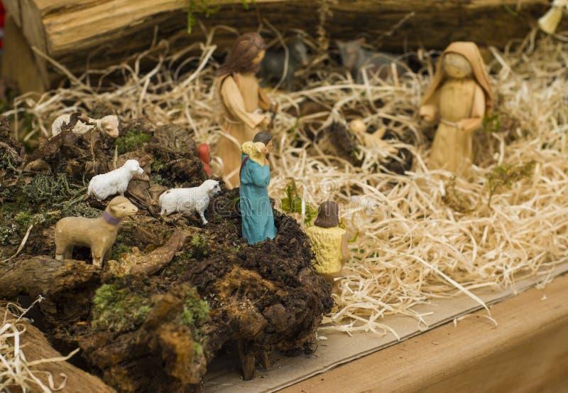 mise Engelse scène van de geboorte van Christus royalty-vrije stock fotografie