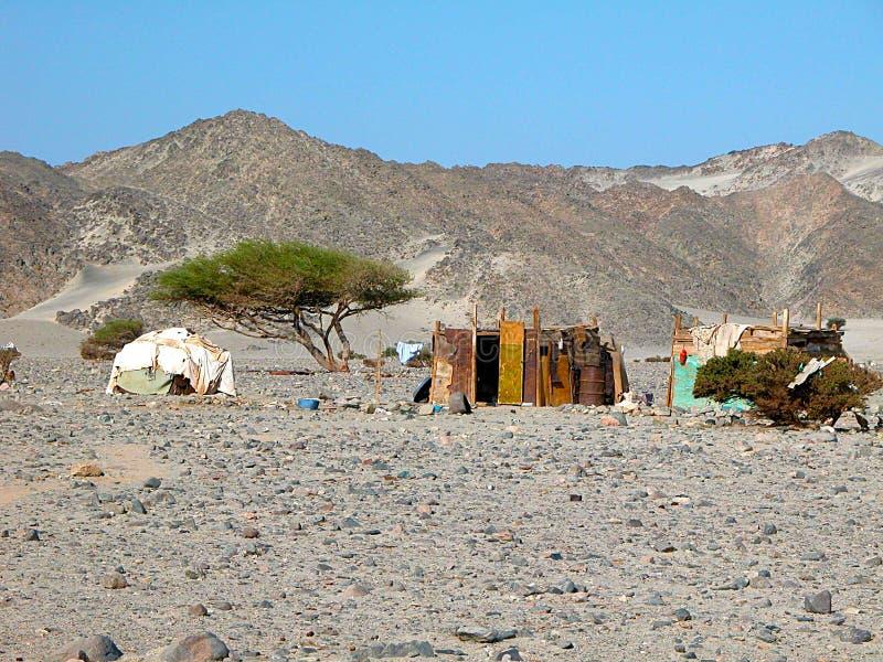 Miserabele hutten in de woestijn in Egypte royalty-vrije stock foto