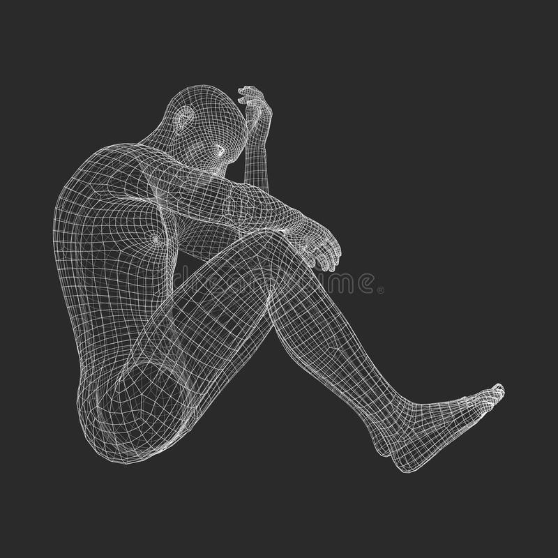 Miserable Depressed Man Sitting and Thinking. Man in a Thinker Pose. 3D Model of Man. vector illustration