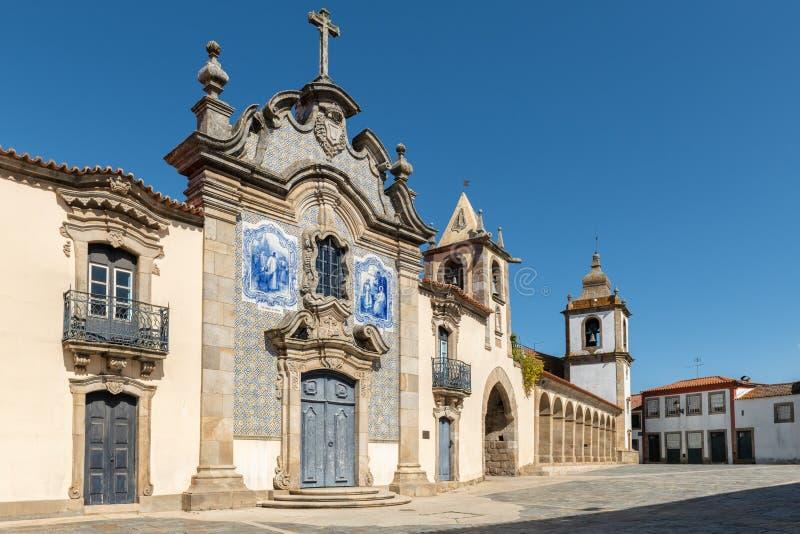 Misericórdia Chapel at Sao Joao de Pesqueira. Misericórdia Chapel has a baroque façade covered with tiles. Sao Joao de Pesqueira, Douro Valley, Portugal royalty free stock photo