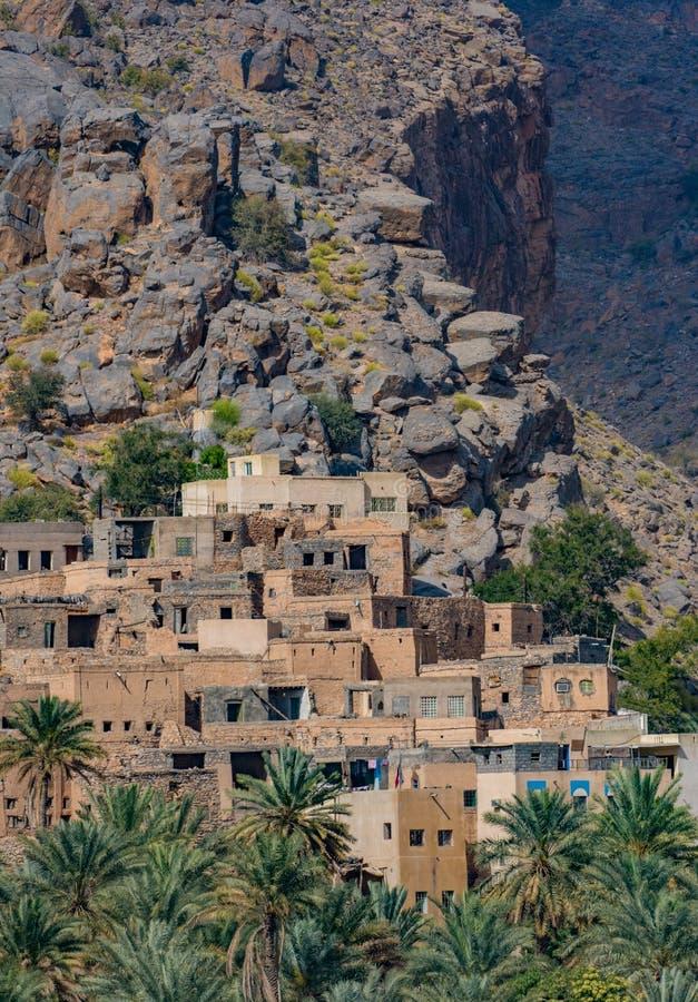 Misfat Al Abriyeen,阿曼村庄  免版税库存照片