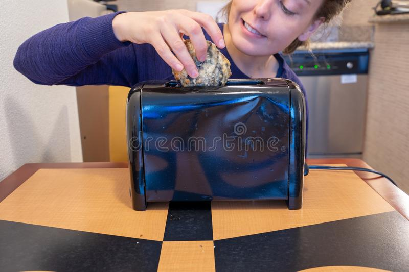 Misguided woman attempts to stuff a large blueberry scone into a small toaster slot, meant for bread royalty free stock photography