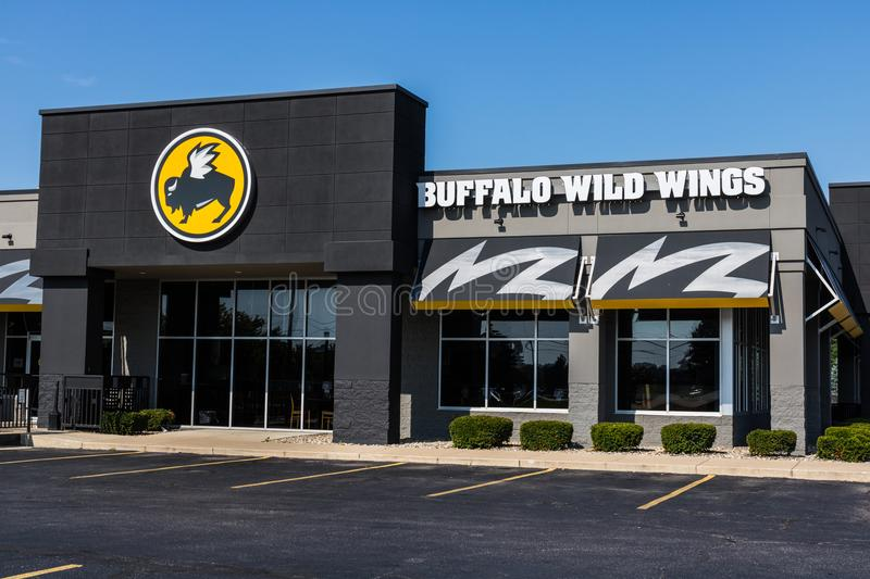 Mishawaka - Circa August 2018: Buffalo Wild Wings Grill and Bar Restaurant. You Can Find Live Sports, Wings and Beer at B-Dubs I. Buffalo Wild Wings Grill and royalty free stock photo