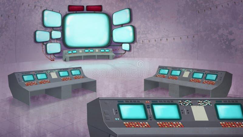 Misión Control Center stock de ilustración