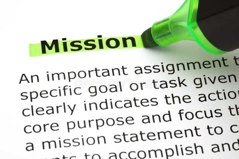 Misión destacada con el marcador verde imagenes de archivo