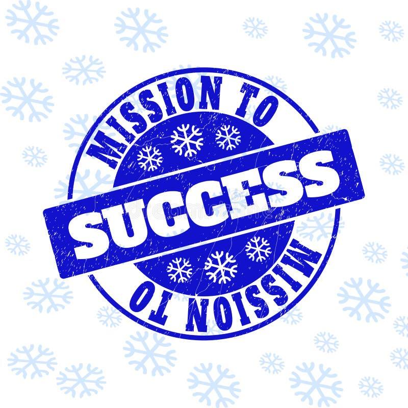 Misión en el sello del sello de la ronda del Grunge del éxito por Año Nuevo ilustración del vector