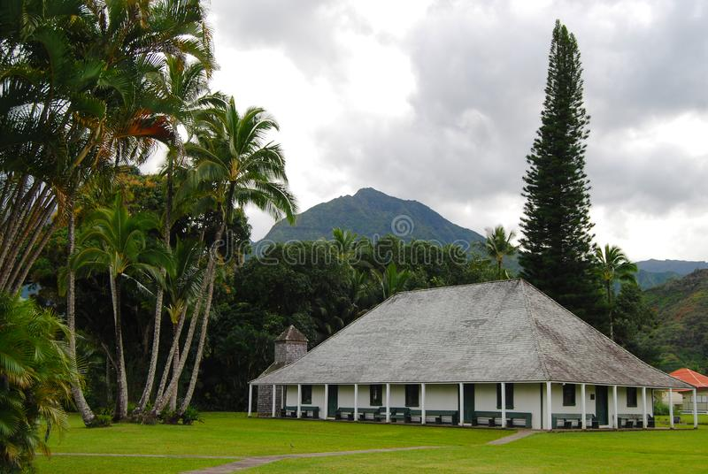 Misión Hall Hanalei Kauai, iglesia, señal de Waioli Huiia fotos de archivo