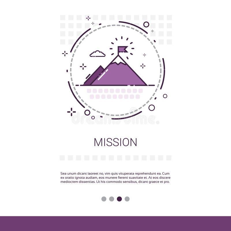 Misión que comercializa el negocio de Vision que apunta la bandera del web con el espacio de la copia libre illustration