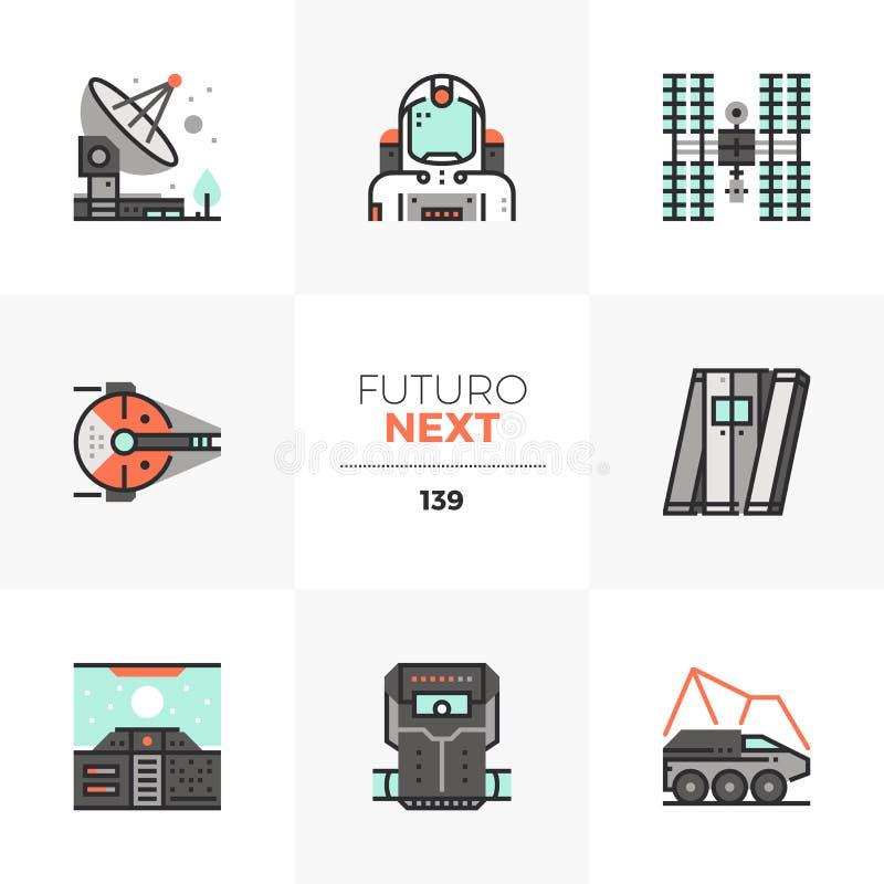 Misi Kosmicznej Futuro Następne ikony royalty ilustracja