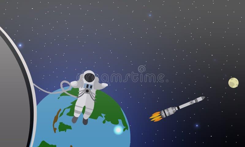 Misi pojęcia wektoru ilustracja Astronauta w staci i kosmosie Kosmonauta lata w żadny spoważnieniu rakieta ilustracji
