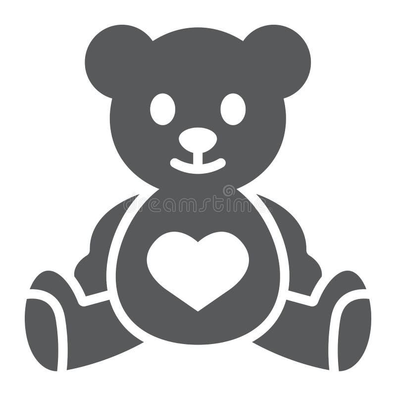 Misia glifu ikona, dziecko i zabawka, zwierzę znak, wektorowe grafika, bryła wzór na białym tle ilustracji
