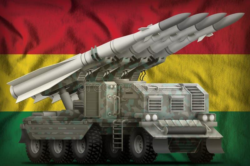Misil balístico de corto alcance táctico con camuflaje ártico en el fondo de la bandera nacional de Bolivia ilustración 3D stock de ilustración