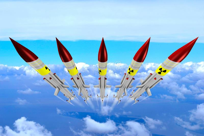 Misiles nucleares ilustración del vector