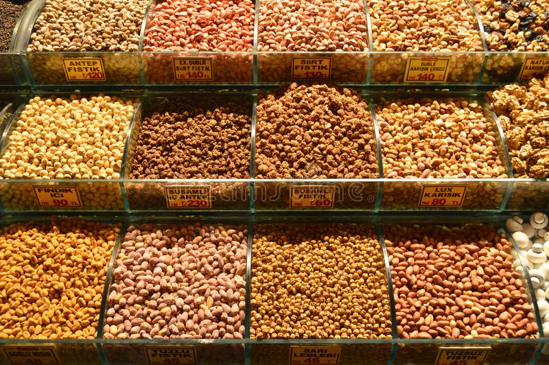 Istanbul Turkey misir carsisi and nuts. In the Misir Carsisi built in the 17th century, locals and tourists from various countries of the world are shopping stock image