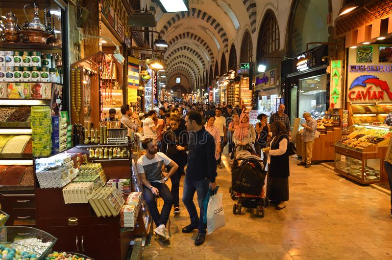 Istanbul Turkey misir carsisi and people. In the Misir Carsisi built in the 17th century, locals and tourists from various countries of the world are shopping stock image
