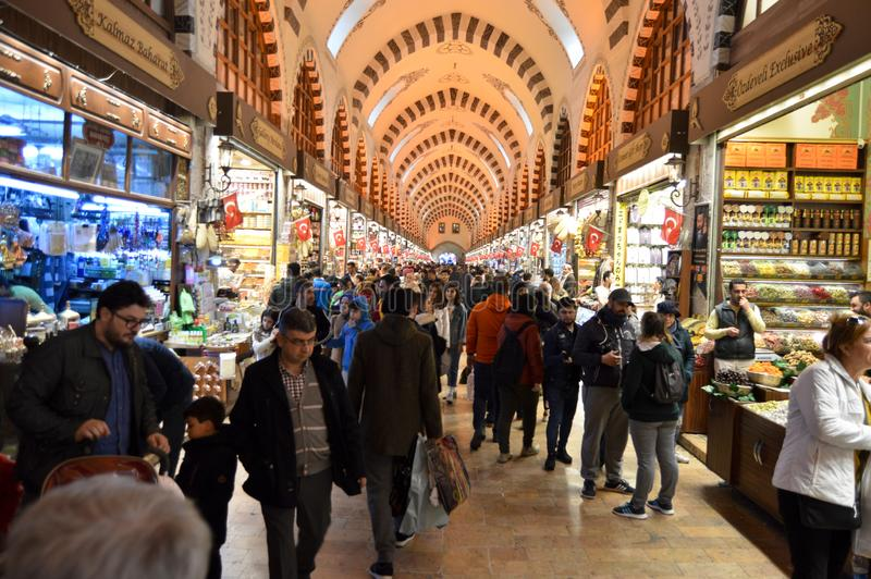 Istanbul Turkey misir carsisi and people, carsi bazar. In the Misir Carsisi built in the 17th century, locals and tourists from various countries of the world royalty free stock image