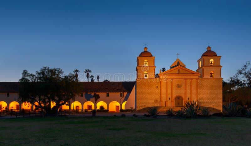 Misja przy noc Santa Barbara zdjęcie royalty free