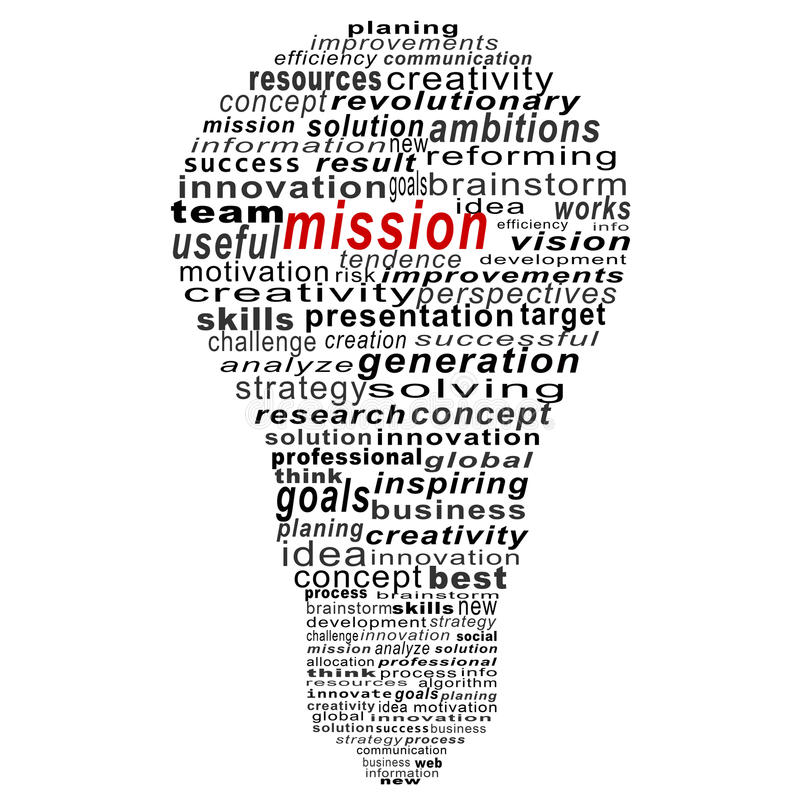 Misja teksta kolaż Komponujący w formie żarówki zdjęcie stock