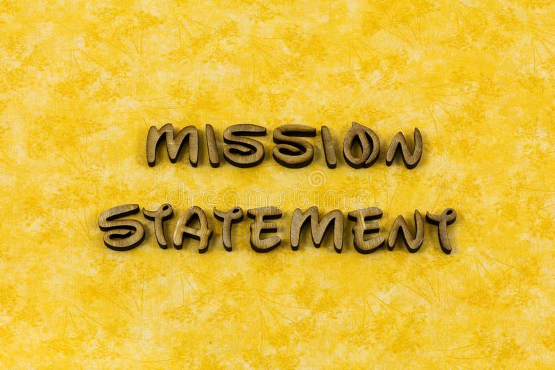 Misja wzroku oświadczenia strategii biznesowej akcji typografii słowo fotografia royalty free