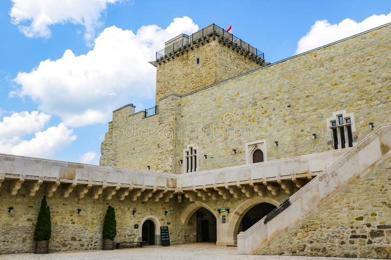Miskolc, Hungary, May 20, 2019: The inner courtyard of the Diosgior fortress in Miskolc.  royalty free stock image