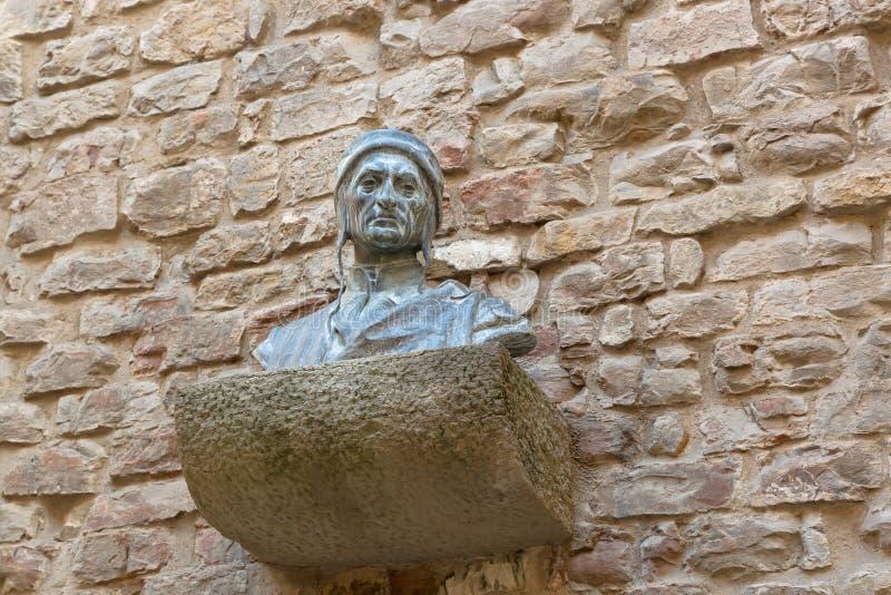 Mislukkingsbeeldhouwwerk van Dante Alighieriâ €™s hoofdschoudersborst op br stock afbeeldingen