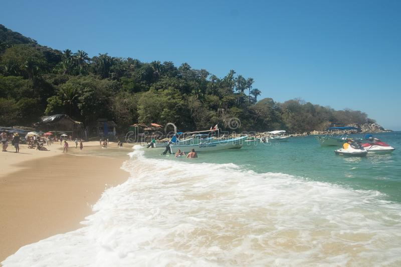 Mismaloya Beach. Sea and shore of Mismaloya Beach in Jalisco, Mexico on the Bay of Banderas stock images
