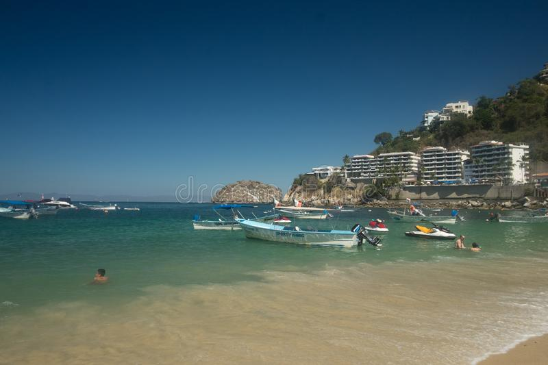 Mismaloya Beach. Sea and shore of Mismaloya Beach in Jalisco, Mexico on the Bay of Banderas stock photography