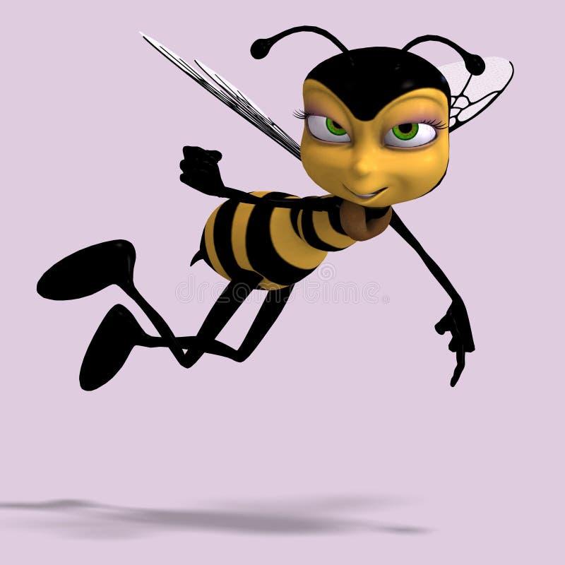 Mismo el dulce rinde de una abeja de la miel en amarillo y bla stock de ilustración
