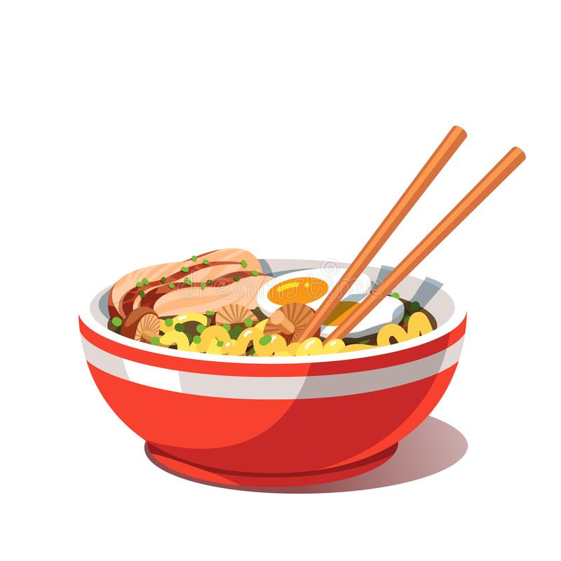 Miso chicken ramen soup bowl with noodles royalty free illustration