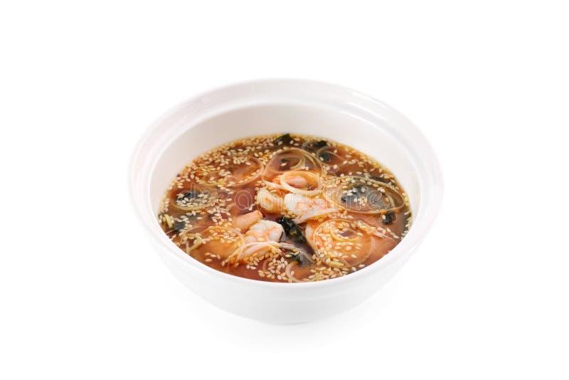Miso giapponese della minestra con il gamberetto della tigre su un fondo bianco immagine stock libera da diritti