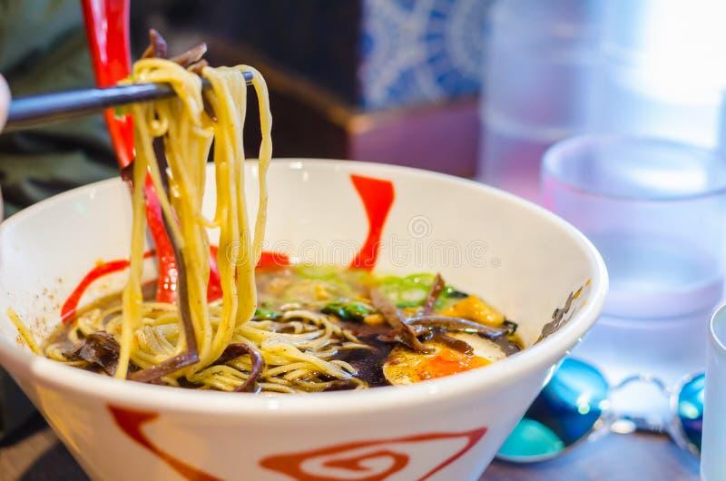 Miso ramen, noedelsoep, Japans voedsel royalty-vrije stock fotografie