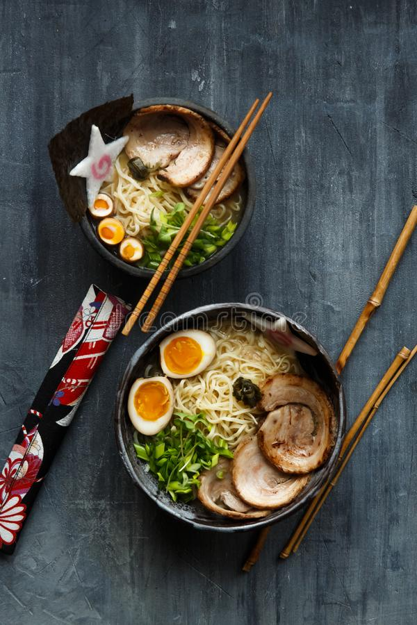 Miso ramen soup with pork, egg and chives royalty free stock photos