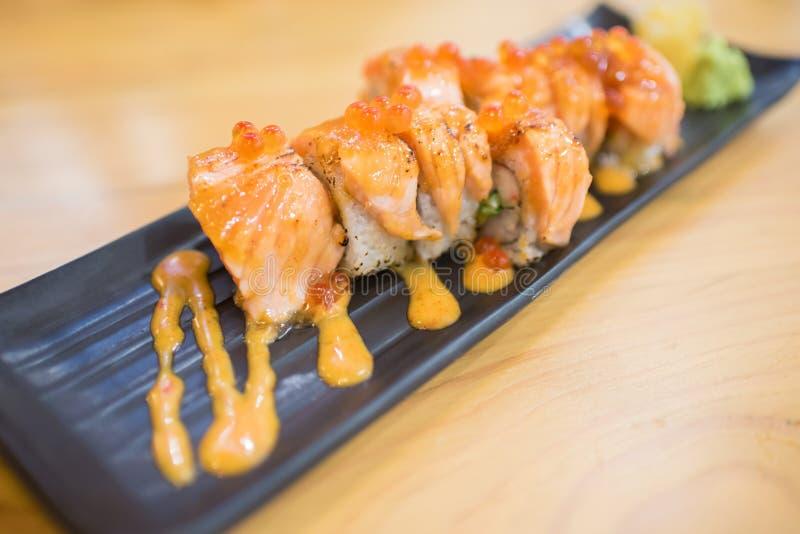 Miso Salmon roll stock image